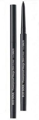 Подводка для глаз тонкая THE SAEM Eco Soul Powerproof Mega Slim Liner 01 Deep Black 0.07г: фото