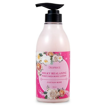 Лосьон для тела DEOPROCE MILKY RELAXING BODY LOTION COTTON ROSE 500ml: фото